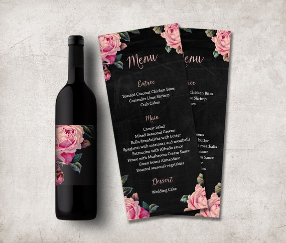 Wedding Menu Printable - Digital File, Floral Wedding Menu Card - Shabby Chic Menu Card
