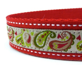 SAMPLE SALE - Paisley on Creme Dog collar/ ribbon dog collar/ adjustable dog collar
