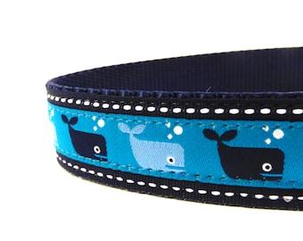 Whales Dog Collar/ Blue Dog Collar/ ribbon dog collar/ adjustable dog collar