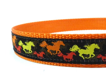 Bright Multi Color Horses dog collar/ dog collar/ ribbon dog collar
