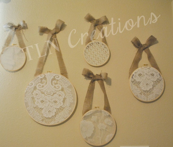 Lace embroidery hoop wall piece set of by tlncreations