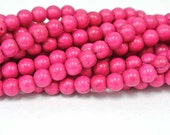 6mm Round Magnesite Beads, Pink Howlite Round Beads, 1 Strand, Round Bright Pink Beads, Pink Stones, Pink Turquoise Beads, Wholesale Beads