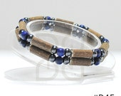 Men's Hazelwood Teen or Adult Double Bracelet Blue & Hematite therapeutic natural