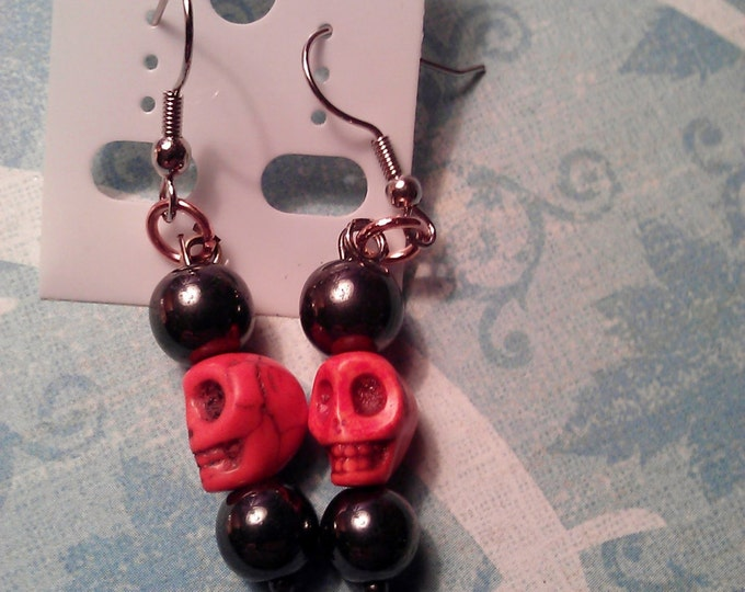Skull Earrings Dyed Turquoise Stones Your choice of color and your choice of stone Hematite Rose Quartz Blue Lapis Blood Jasper River Shell