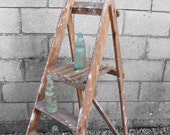 Rustic Wooden Step Ladders; great for display, Pefect Library Book Storage Shelves