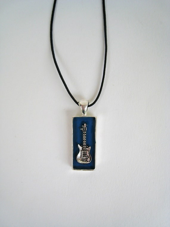 Electric Guitar necklace, mens jewelry, music necklace, blue resin pendant, guitar charm, rock hipster jewelry, guitarist - bass player gift