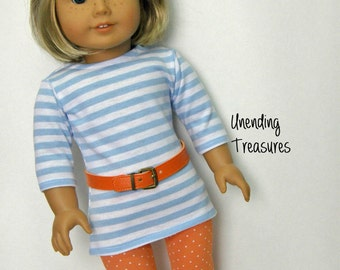 "18 inch doll clothes AG doll clothes Girl doll clothes blue/white striped tunic orange/white dots leggings and orange belt 18"" doll clothes"