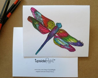 Dragonfly Watercolor Card Handmade