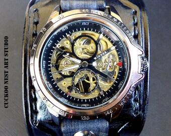 Cuff Watch, Men's Leather Watch Cuff, Men's Leather Watch, Wrist Watch,  Bracelet watch, Layered Black Watch Cuff
