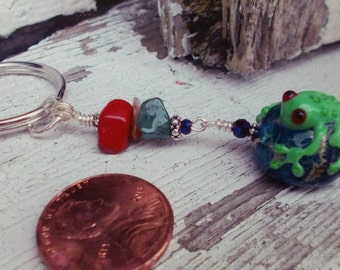 Red Eyed Little Green Froggy Key Chain, Book Bag Zipper Pull