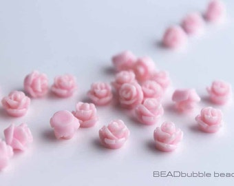 Tiny Pink 7.5mm Resin Rose Flower Flat Back Cabochons Pack of 20 (CAB310)