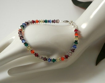 Energy & Balance swarovski crystal, sterling silver chakra bracelet, yoga, meditation, colors