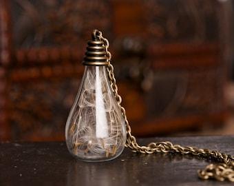 Dandelion necklace, dandelion seeds necklace, nature necklace, wish necklace, glass vial necklace, wish holder, best friend necklace