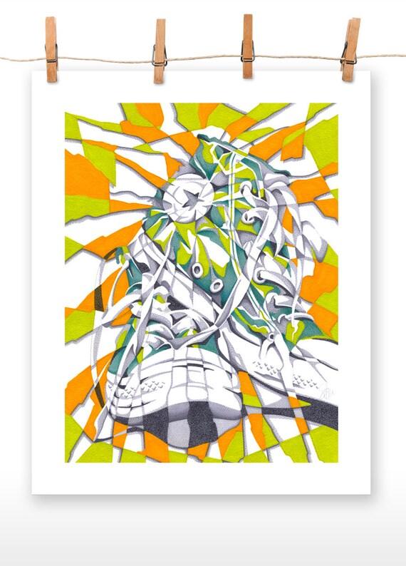 WORN & TORN Converse Chuck Taylor Shoes 16x20 Poster Print of an Original Hand Drawn Illustration