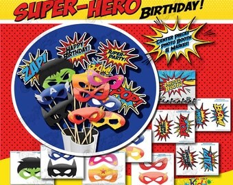 Instant Download! SUPERHERO Birthday Party Photo Booth Props, Sign and SUPERHERO Masks, Superhero Party Center Pieces, Superhero Decorations