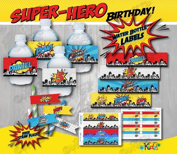 SUPERHERO Party Water bottle Label & Free Straw Flags! Superhero ...