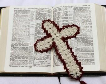 Crochet Cross Bookmark - Burgundy and White, Religious Bookmark, Bible Bookmark, Cross Bookmark, Tassel Bookmark, Church Bookmark