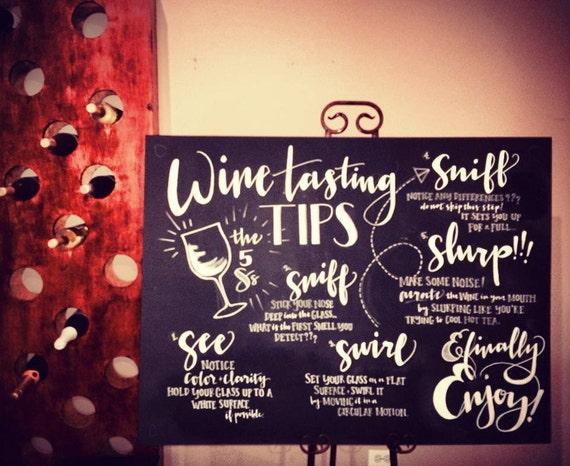 Chalkboard wine tasting instructions for Wine chalkboard art