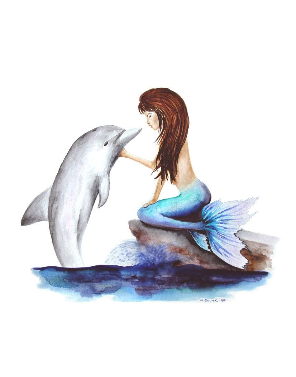 Dolphin Art Print Mermaid Painting Mermaid by TinyToesDesign