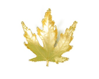 1970s 1980s Gold Plated Fall Holiday Leaf Brooch Pin