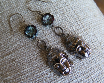 Buddha earrings, brown earrings, brown and red earrings, unique earrings, long earrings, ethnic earrings, unique jewelry, garnet and brown