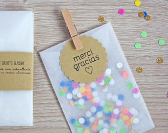 Glassine Bags 4,72 x 3,14 inch - Wedding Favor - Favor Bags - Party DIY Set of 20 - 100