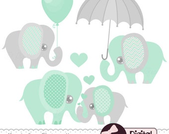 baby elephant decor clipart printable elephant baby shower clip art mint and grey