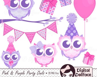 Pink and Purple Owl Birthday Clip Art, Owl Birthday Girl Clipart, Cute, Printable Images for DIY Invitations