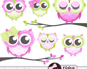 Girly, Cute Owl Clipart, Pink and Green Owl Clip Art for Baby Shower, 1st Birthday