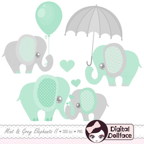 Baby Elephant Decor Clipart / Printable Elephant Baby Shower