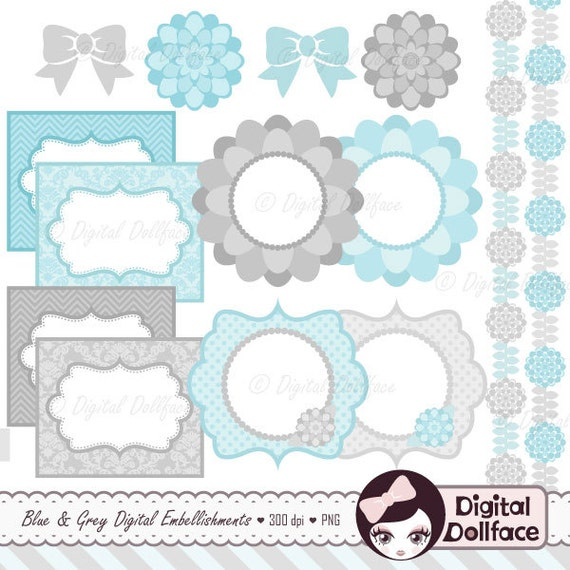 Baby Blue Frame Clip Art Digital Elements Floral Border Clipart