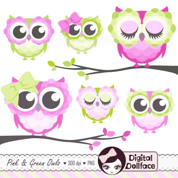 Girly Cute Owl Clipart Pink and Green Owl Clip Art for Baby