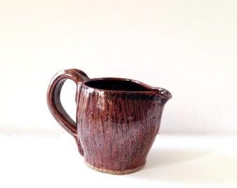 Vintage Amateur Pottery Wood Grain Pitcher