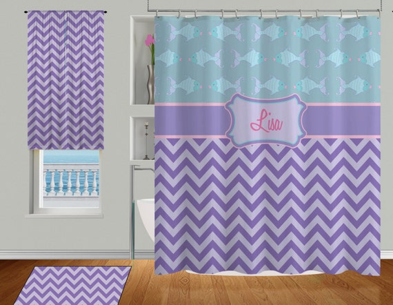 Items similar to Chevron Shower Curtain, Teal shower curtain, Purple ...