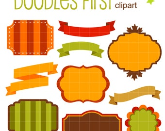 Autumn Frames and Ribbons Digital Clip Art for Scrapbooking Card Making Cupcake Toppers Paper Crafts