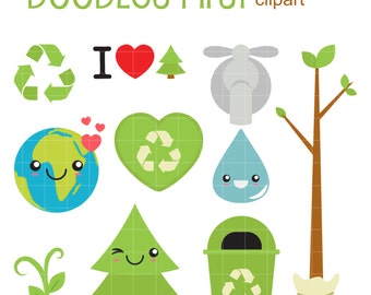 Earth Day Digital Clip Art for Scrapbooking Card Making Cupcake Toppers Paper Crafts