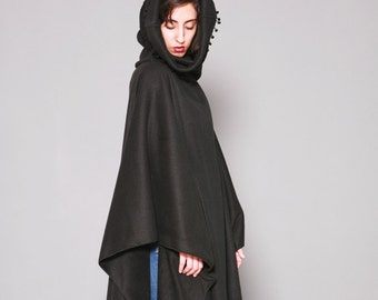 Black Fleece Poncho, Hooded Cape, Plus Size Hoodie, Poncho Cape, Hooded Poncho, Black Hooded Cloak, Fleece Cape