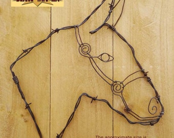 Mule Head - Handmade metal decor barbed wire art country western wall sculpture