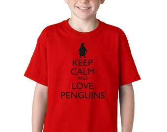 Kid's Keep Calm and Love Penguins Funny T-Shirt Animals Tee