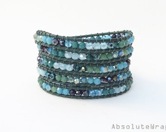 Green blue crystal wrap bracelet on soft green polyester cord