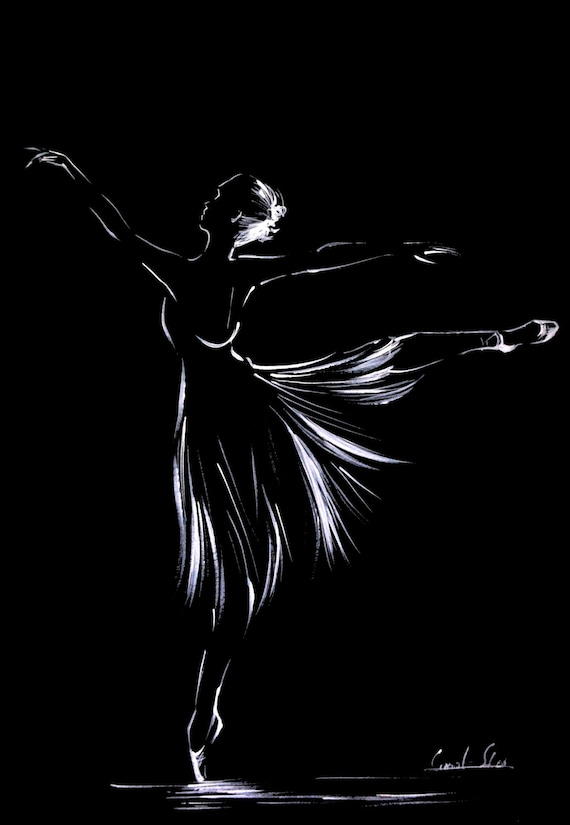 Black And White Ballet Drawing Ballerina Original Art