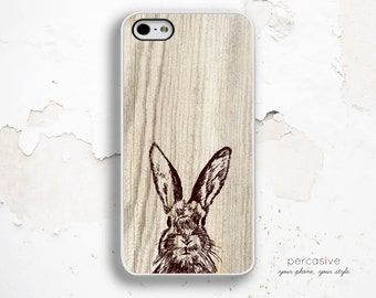 iPhone 6 Case Rabbit - iPhone 6 Plus Case, iPhone 4 Case, iPhone 4s Case, iPhone 5C case, iPhone 5 / 5S Case, Wood iPhone 6 Case Bunny :0650