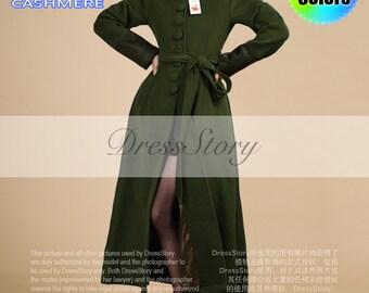 Dark Olive Green Wool Coat - Dark Olive Cashmere Wool Coat with Lace Details - Long Olive Wool Coat - Olive Cashmere Coat - 40+ Colors - BC5