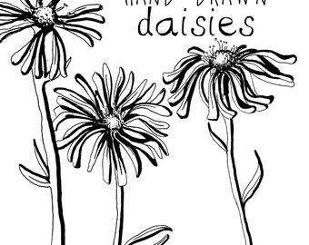 Ink Drawing Daisy Flower Clipart Flowers Clip Art Digital Clipart Flower Vintage Style Floral Clipart Scrapbooking