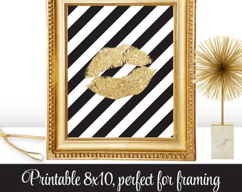 Gold Glitter Kiss Lips Black White Stripes Bachelorette Party Decorations Printable Art Makeup Vanity