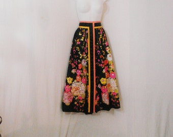 Long Floral Skirt One of a Kind Vintage 40s 50s Hollywood Glam Maxi Skirt Avant Garde M