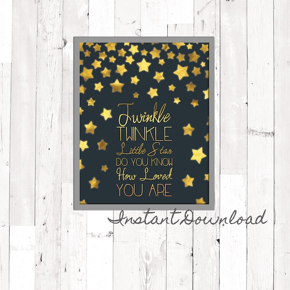 Brushed Gold Wall Decor : Brushed gold navy nursery wall art printable twinkle