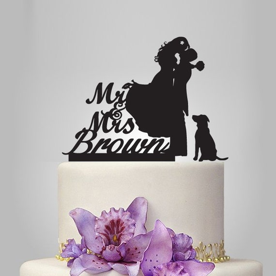 Funny Wedding Cake Topper With Dog MrampMrs Cake By Walldecal76