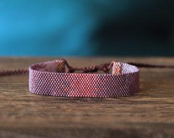 Pink, Purple Peyote Beaded Bracelet