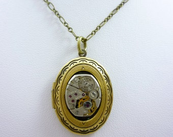 Neo-Victorian SteamPunk Locket Necklace with vintage watch movement by Victorian Folly